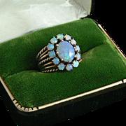 Dazzling Opal 14K Gold Cluster Ring