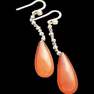 Pretty Carnelian Drop Earrings Tiny Pearls 14K Gold