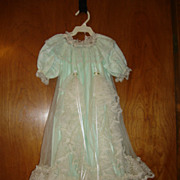 Green Nylon Christening Dress with Lace