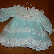 Pale Blue and White Lace Doll Dress