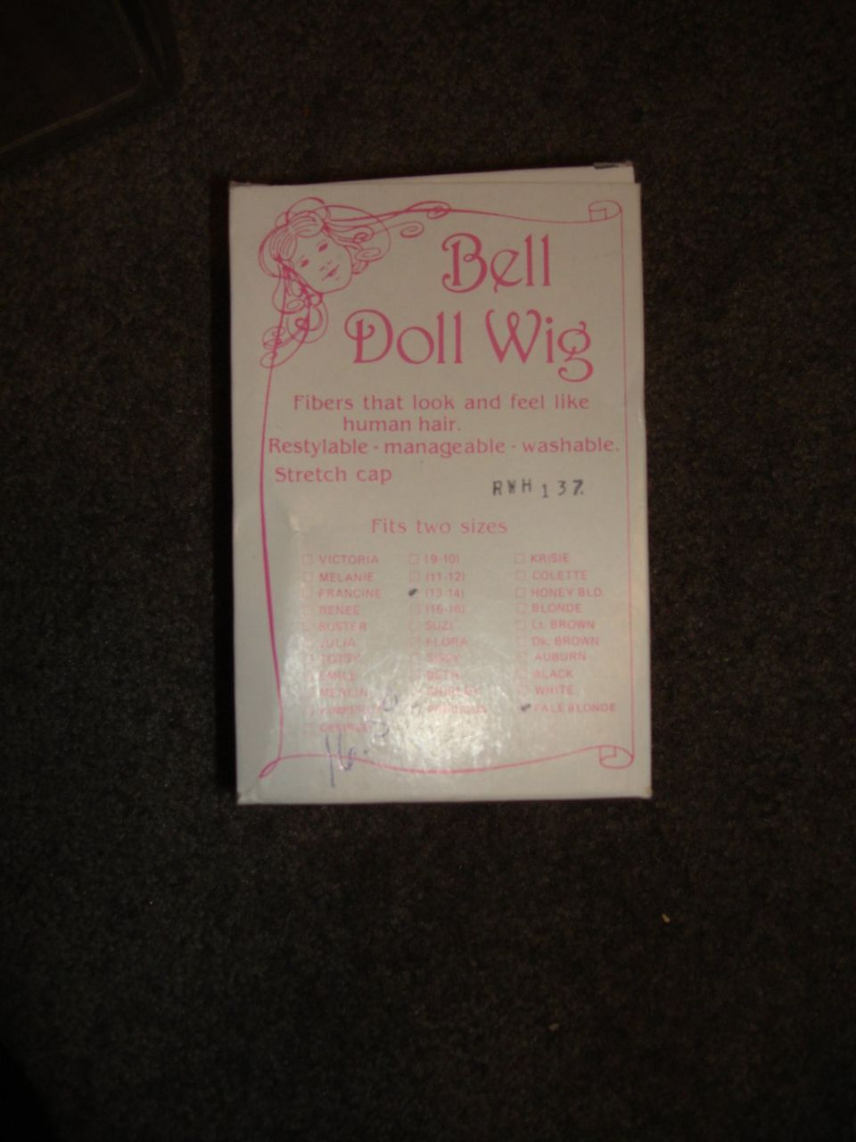 MIP Bell Doll Wig - Pale Blonde