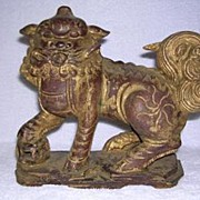 Hand Carved Foo Dog - Temple Dog/Lion
