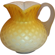 Yellow Satin Glass with Diamond Quilted Pattern Pitcher
