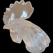 """Lalique; Hood Crystal Ornament, """"Tete de Coq"""" Rooster"""