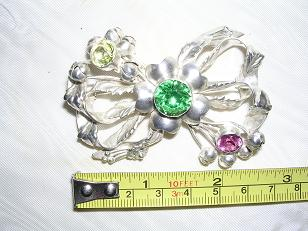 Hobe Sterling Pin with 3 Stones