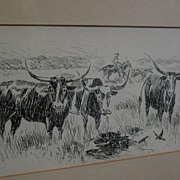 Southwest art signed ink drawing of longhorn cattle possibly New Mexico listed artist
