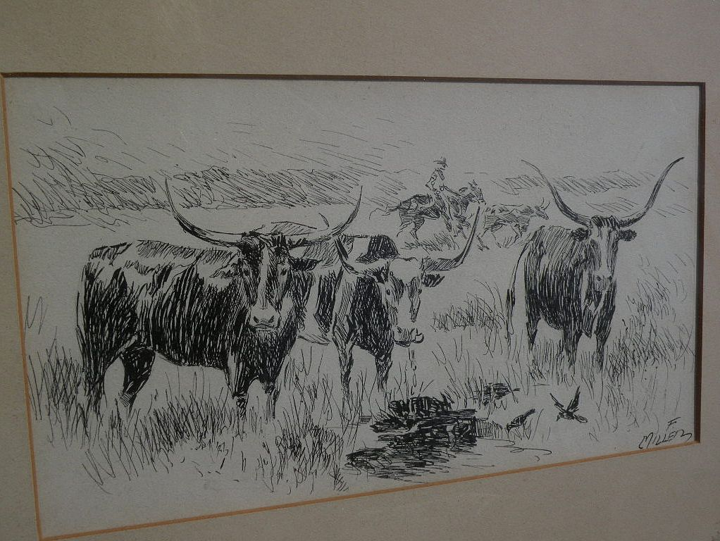 Southwest Art Signed Ink Drawing Of Longhorn Cattle