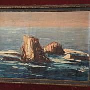 Vintage California art 1954 signed palette knife painting of Bird Rocks Laguna Beach