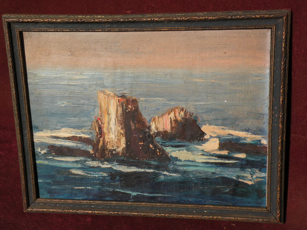 Vintage California art 1954 signed palette knife painting of Bird Rocks Laguna Beach