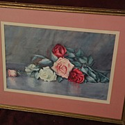 KATHRYN  LEIGHTON (1875-1952) watercolor painting of roses by master of indian portraits and Southwest landscapes
