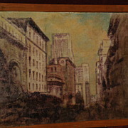 JOHN HENRY RAMM (1879-1948 ) noted Northern California artist oil painting of San Francisco downtown dated 1930