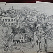 ELSIE MAE FORD (1901-) Southern art listed New Mexico artist double-sided drawing of Eureka Springs Arkansas