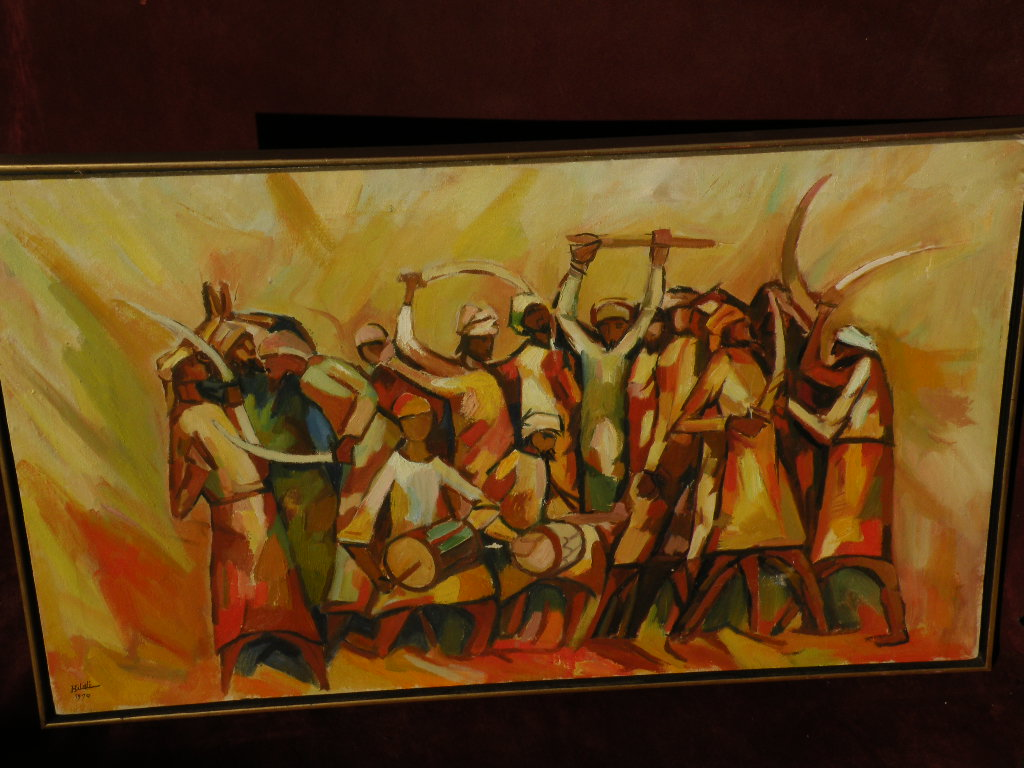 Islamic art 1970 signed Omani painting of traditional dancers