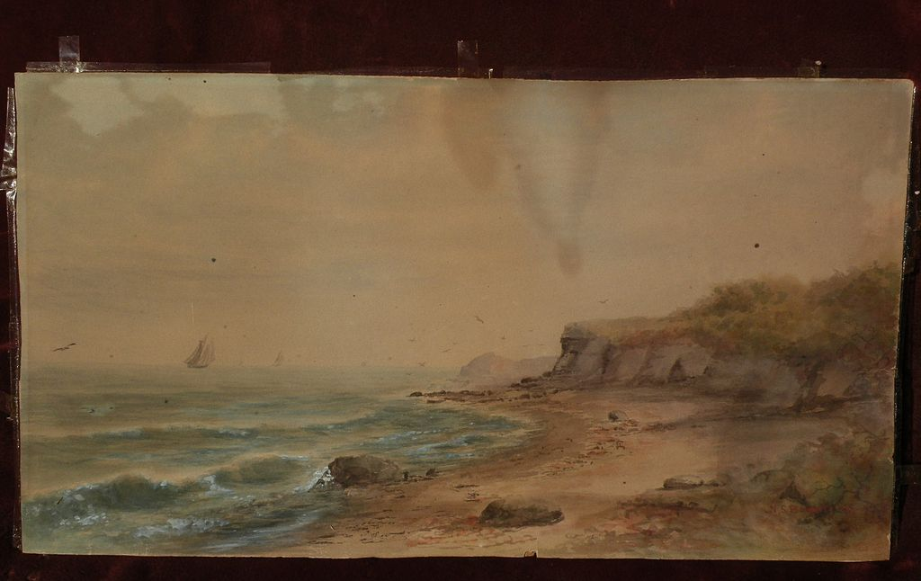 NELSON S. BOWDISH (1831-1916) American art watercolor coastal landscape painting