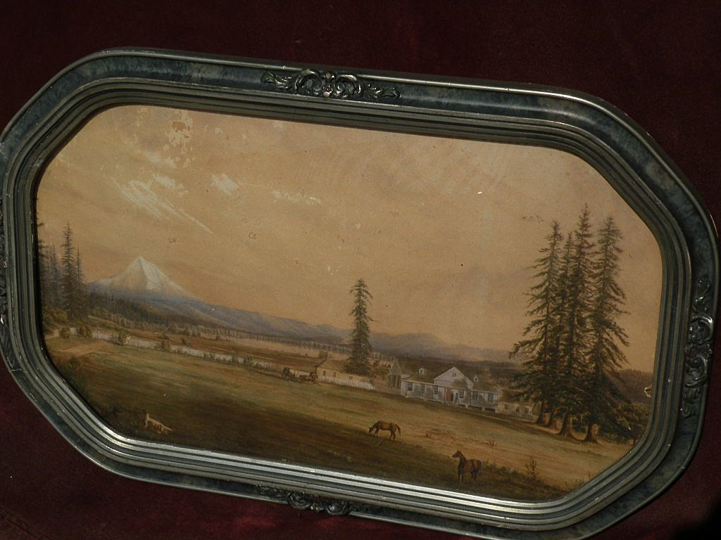 OREGON ART Rare extremely well executed circa 1860s to 1880's watercolor of Mt. Hood Oregon landscape with figures, houses and dogs in Victorian frame