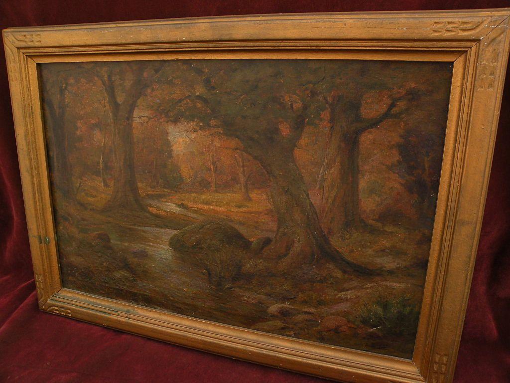 ANGEL ESPOY (1879-1963) California plein air art vintage impressionist painting stream among oak trees