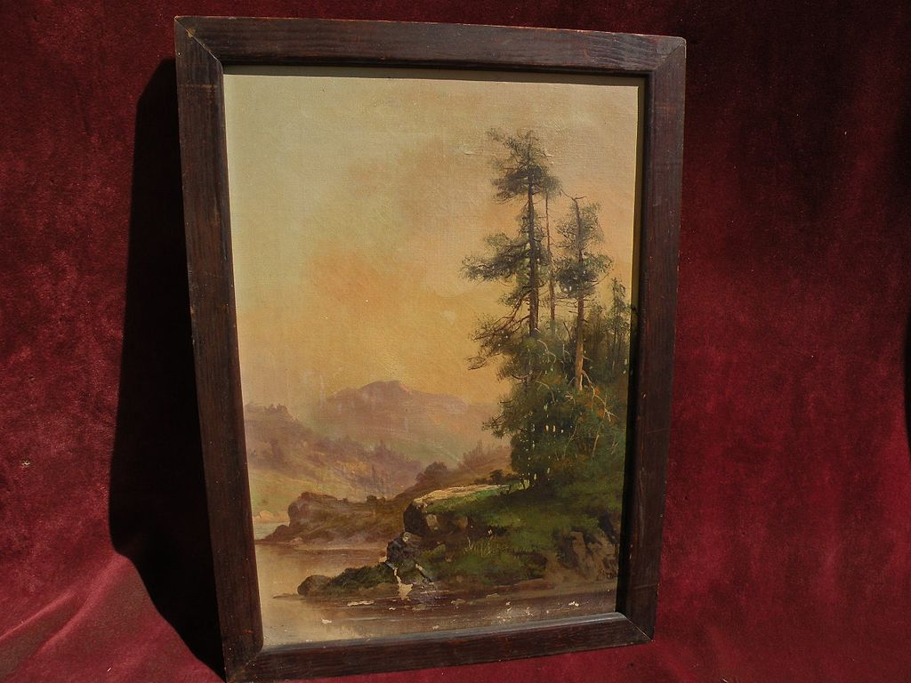 "MEYER STRAUS (1831-1905) California art Hudson River inspired river landscape painting ""On the Upper Columbia"""