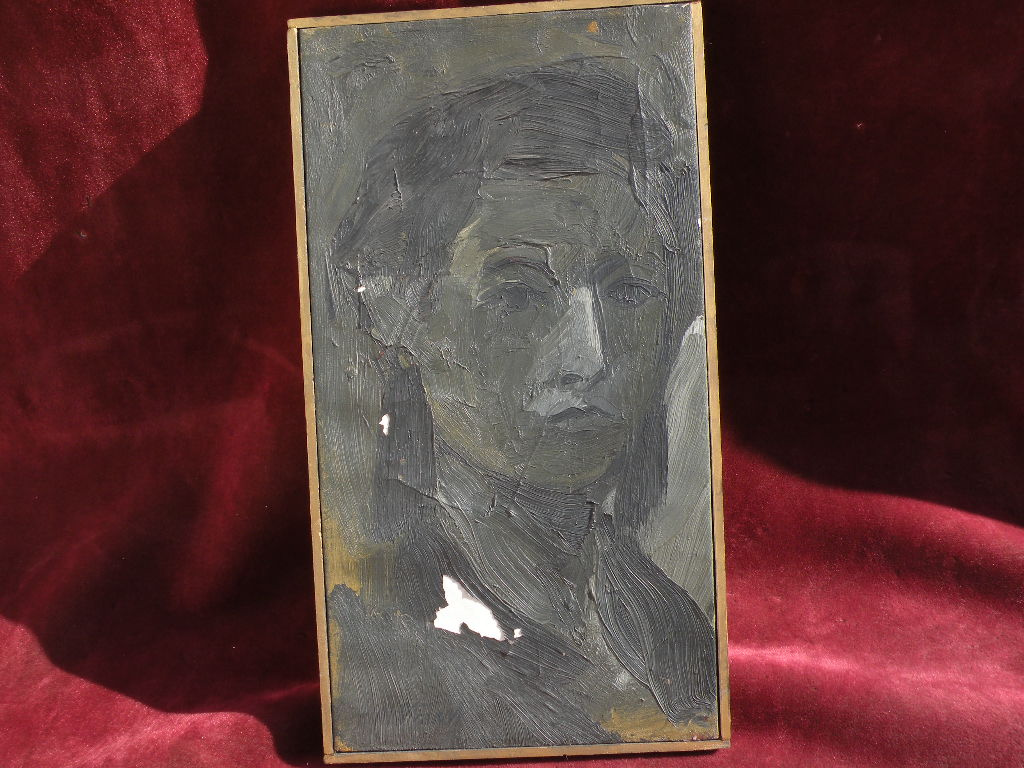 Signed contemporary artistic portrait painting in shades of black and gray