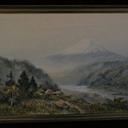 Japanese art 20th century watercolor painting of Mount Fuji signed HIROSHI