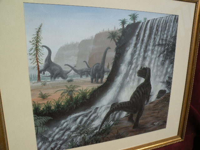 Natural History original art detailed prehistory dinosaurs painting by English artist RICHARD BIZLEY (1959-)