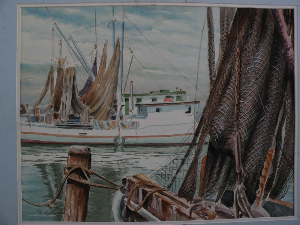 R. HAL BURRISS (1892-1991) listed American watercolor Southern art painting of fishing boats at the dock