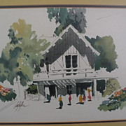 JAKE LEE (1915-1991) California Scene school watercolor art painting of house and figures