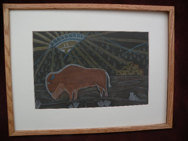 Southwest American art Taos Pueblo New Mexico traditional drawing