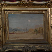 Late 19th century style Colorado plains art signed dated landscape painting