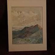 "Topographical art 19th century watercolor landscape ""Monterrey"" probably Mexico"