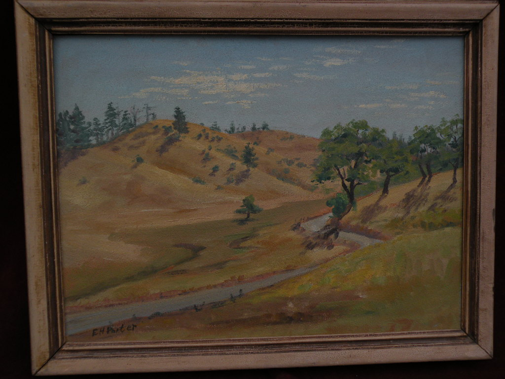 Decorative landscape painting of dry hills likely California