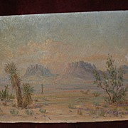 Southwest art desert signed vintage painting yucca and arid mountains