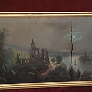 Hudson River 19th century American moonlight painting circa 1885 AS-IS condition