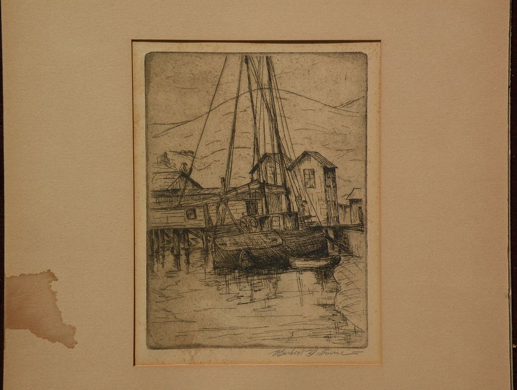 Northern California art pencil signed waterfront etching by listed artist HERBERT IMRIE (1885-1976)