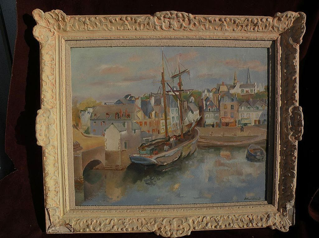 ABEL GERBAUD (1888-1954) large oil painting of French harbor