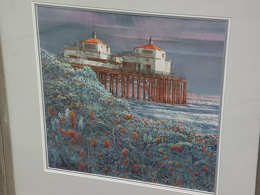 DON FAY (20th century California art) plein air watercolor painting of Malibu Pier