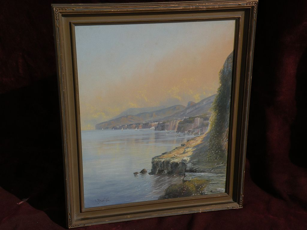 GIOVANNI BATTISTA (1858-1925) Italian gouache painting extensive coastal landscape probably Amalfi