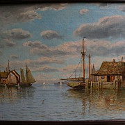 WILLIAM FREDERICK PASKELL (1866-1951) noted Massachusetts artist New England marine art harbor scene painting