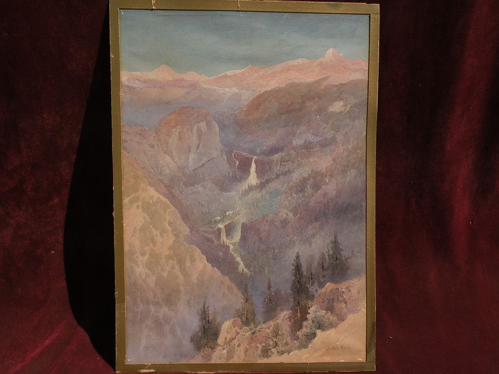 JAKOB KOCH (1876-1962) early 20th century California art watercolor painting of Yosemite Valley