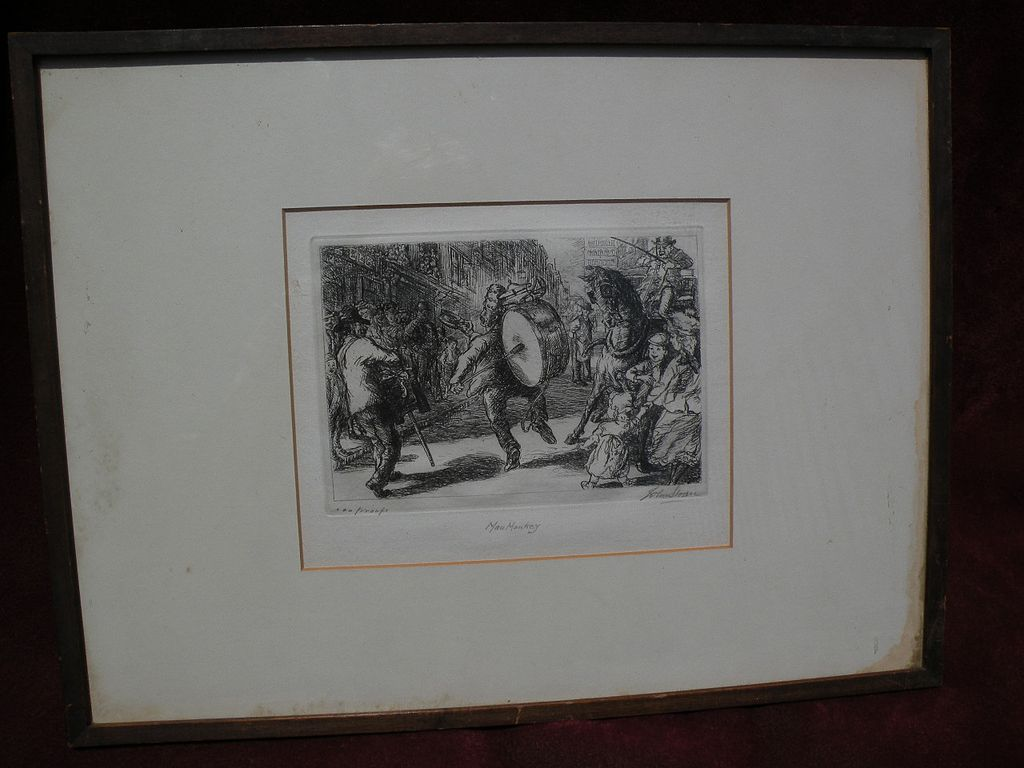 """JOHN SLOAN (1871-1951) pencil signed limited edition etching """"Man Monkey"""" with important provenance"""