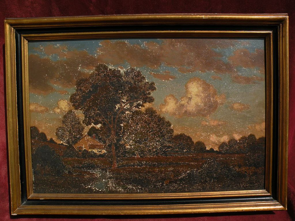 GEORGE W. DREW (1875-1968) American art landscape painting needing restoration