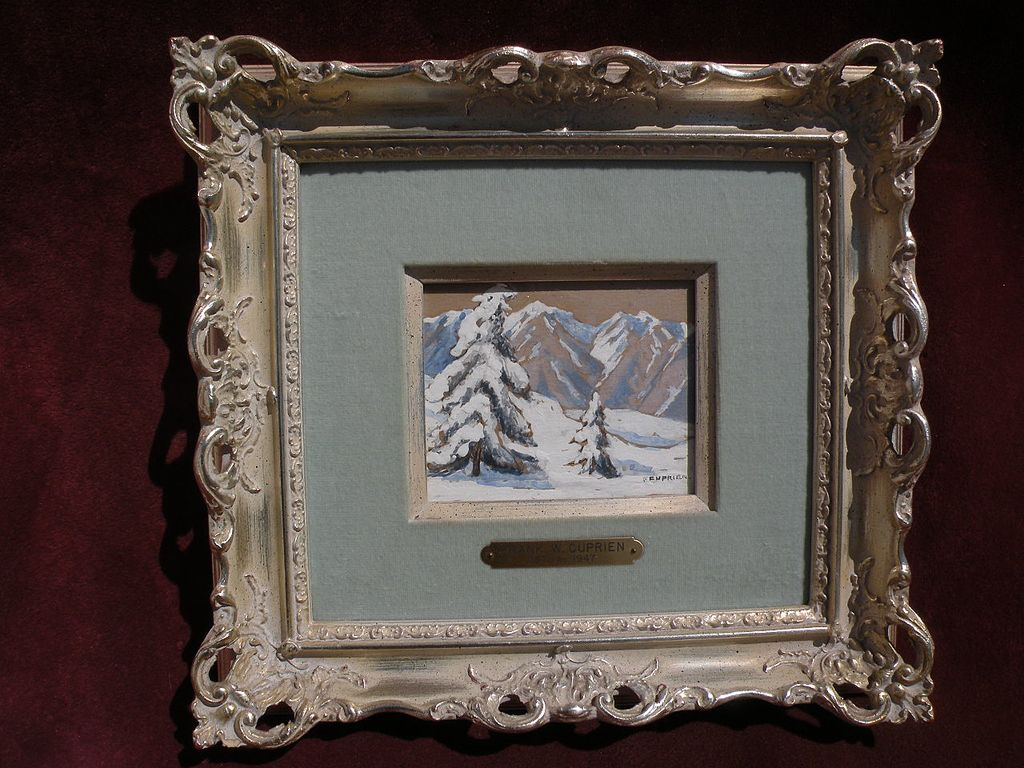FRANK CUPRIEN (1871-1948) California plein air art framed gouache on paper mountain snow landscape painting