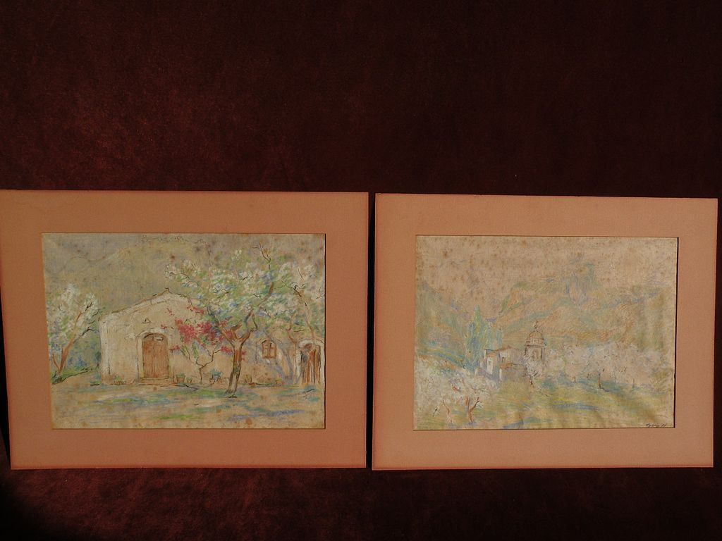 ALBERT LOREY GROLL (1866-1952) noted Southwestern American painter PAIR of pastel drawings of the Southwest or Mexico