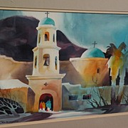 "ROY E. SWANSON Arizona Southwest art modern watercolor painting ""Green Valley Church"""