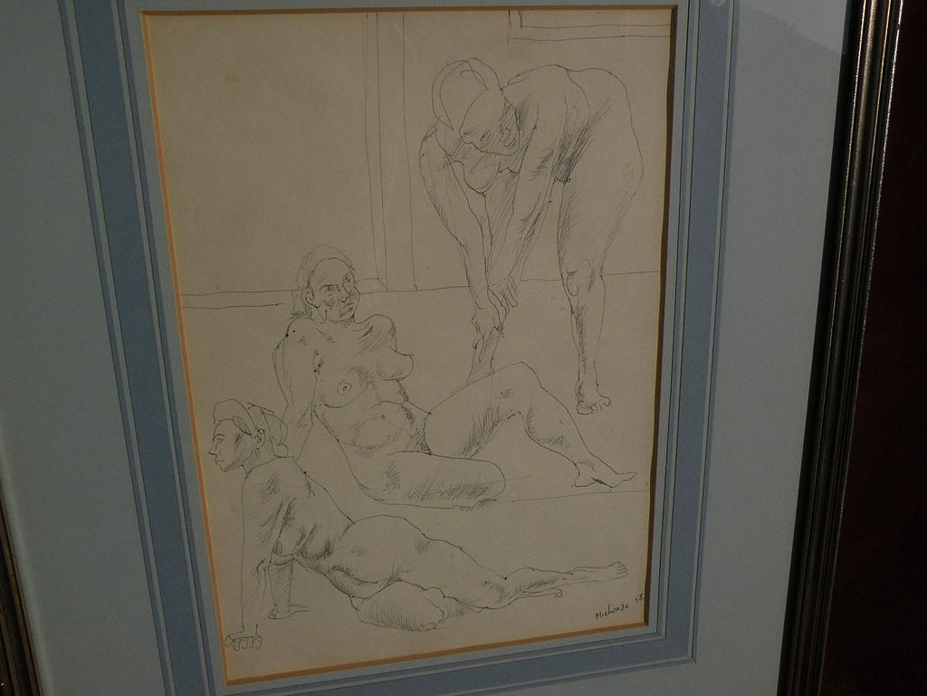 GREGOIRE MICHONZE (1902-1982) Jewish Russian-French artist 1958 pen and ink drawing of three nudes