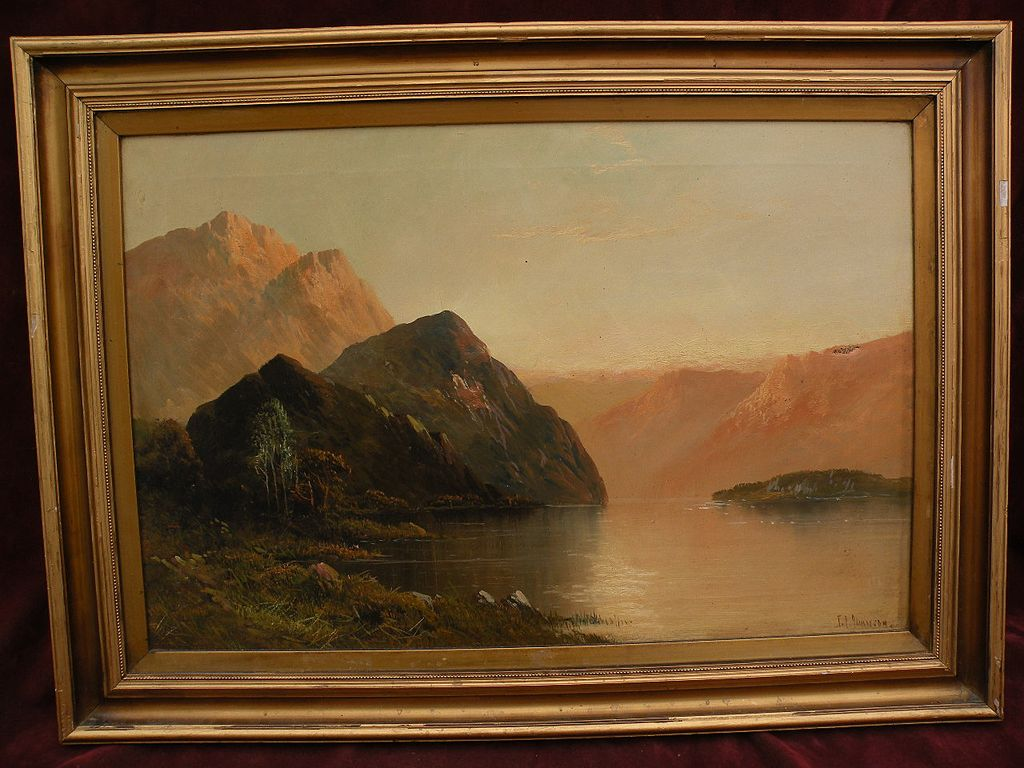 FRANK E. JAMIESON (1834-1899) Scottish art Highlands Loch landscape painting