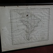 Antique map of South America by Delamarche dated 1822 with hand coloring