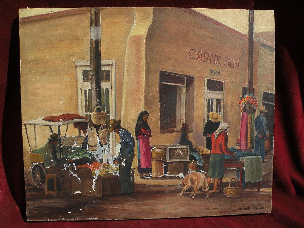 JO ANITA STARKEY (1895-1962) California artist Mexican street scene painting