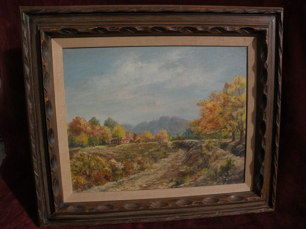 New Mexico art landscape painting of Old Mesilla in the autumn dated and signed