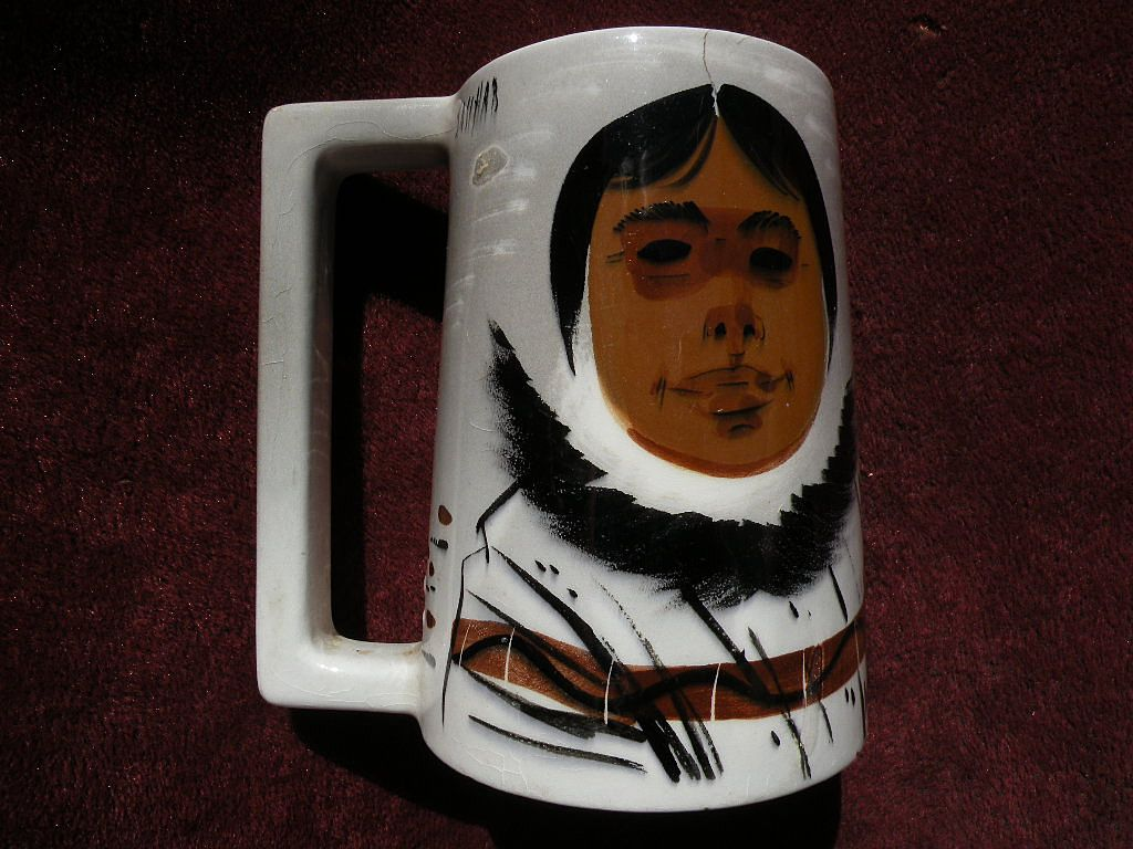 SASCHA BRASTOFF California pottery mid century modern Eames era retro painted mug