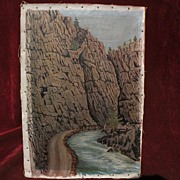 Vintage Colorado art 1925 signed painting of mountain canyon near Estes Park